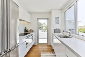 white kitchen timber floor