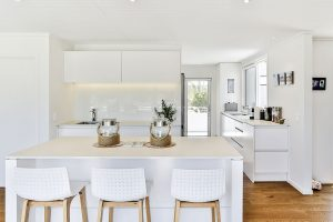 white minimalist kitchen beach theme