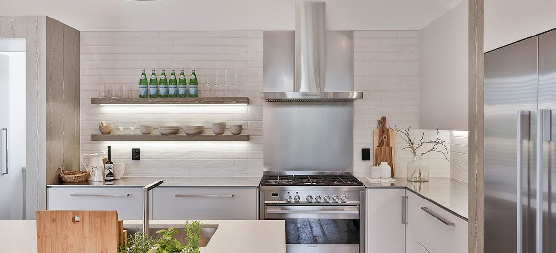 country kitchen floating shelves stainless steel benchtop