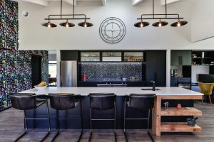black and coloured kitchen