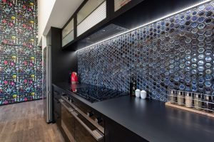 black tiled splashback