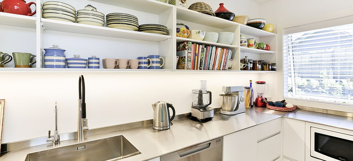 scullery stainless steel bench open shelves sink