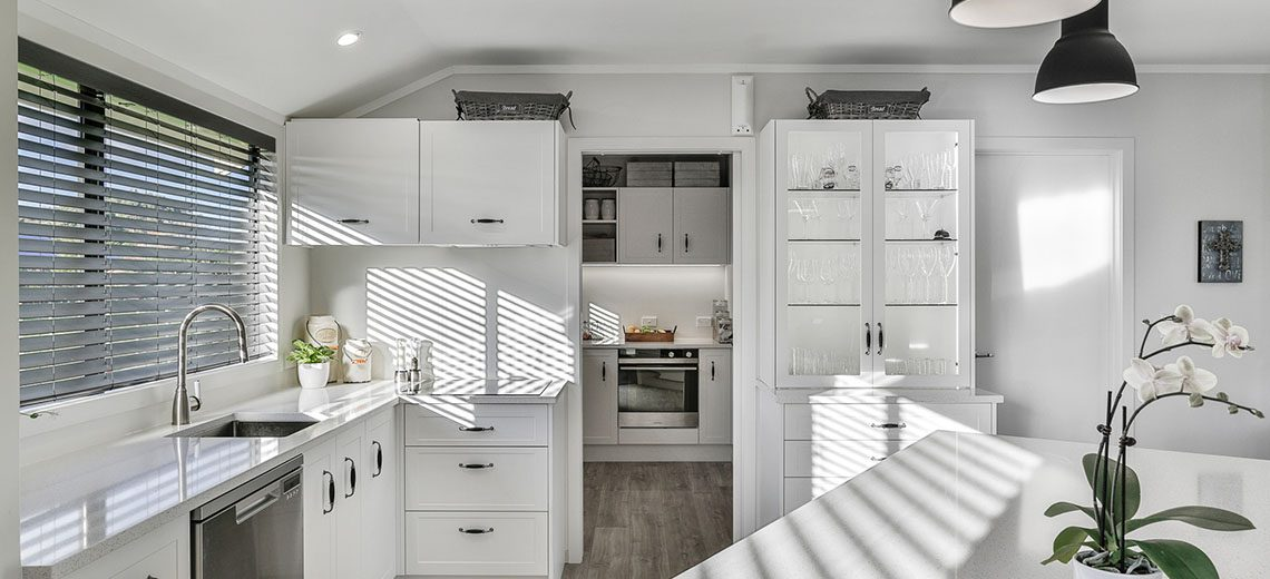 modern country kitchen with butlers pantry