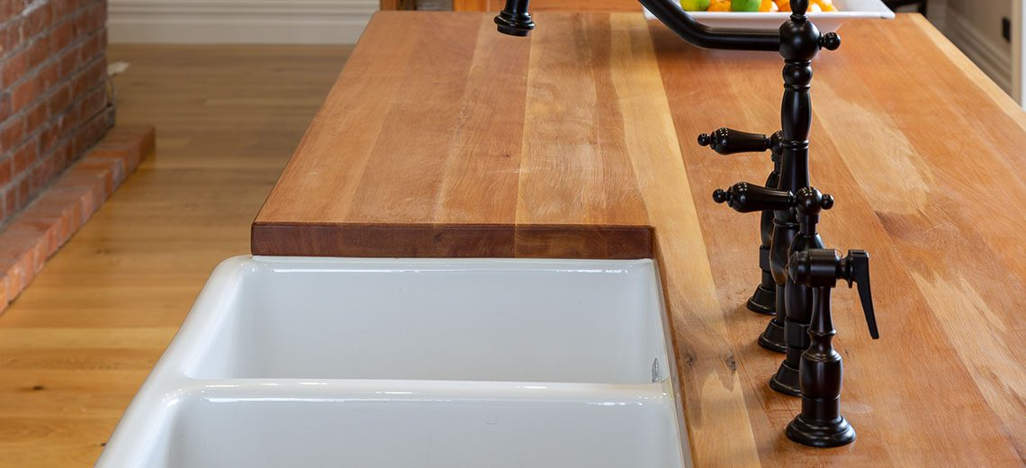 country kitchen timber benchtop butlers sink