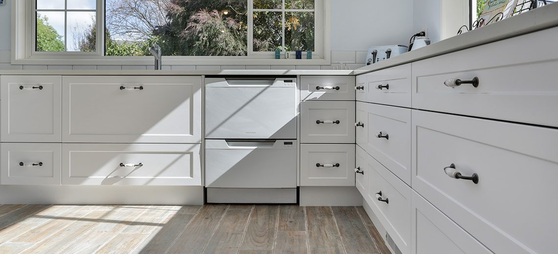 white country kitchen with dishdrawers