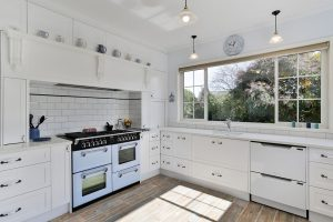 white country kitchen white oven range