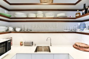 scullery timber open shelves sink white bench