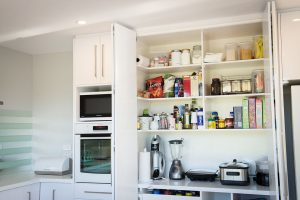 white kitchen on bench pantry