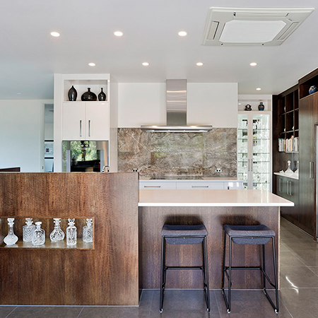 On display - classic kitchen with glass display cabinets